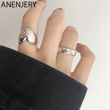 ANENJERY 925 ayar gümüş pürüzsüz aşk kalp açılış parmak yüzük kadın kadın takı doğum günü hediyesi Drop Shipping S-R828