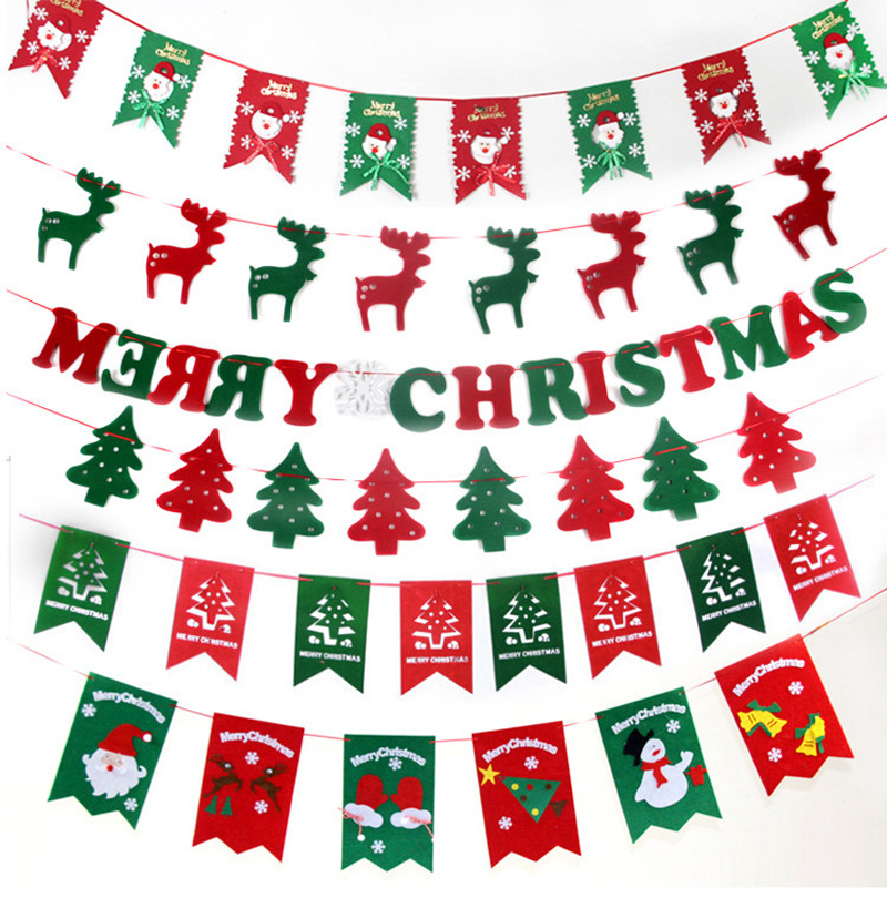 1 Set Christmas Season Hanging Flags Christmas Banners Ornament Decoration Festival Event Party Home Yard Decoration Supplies