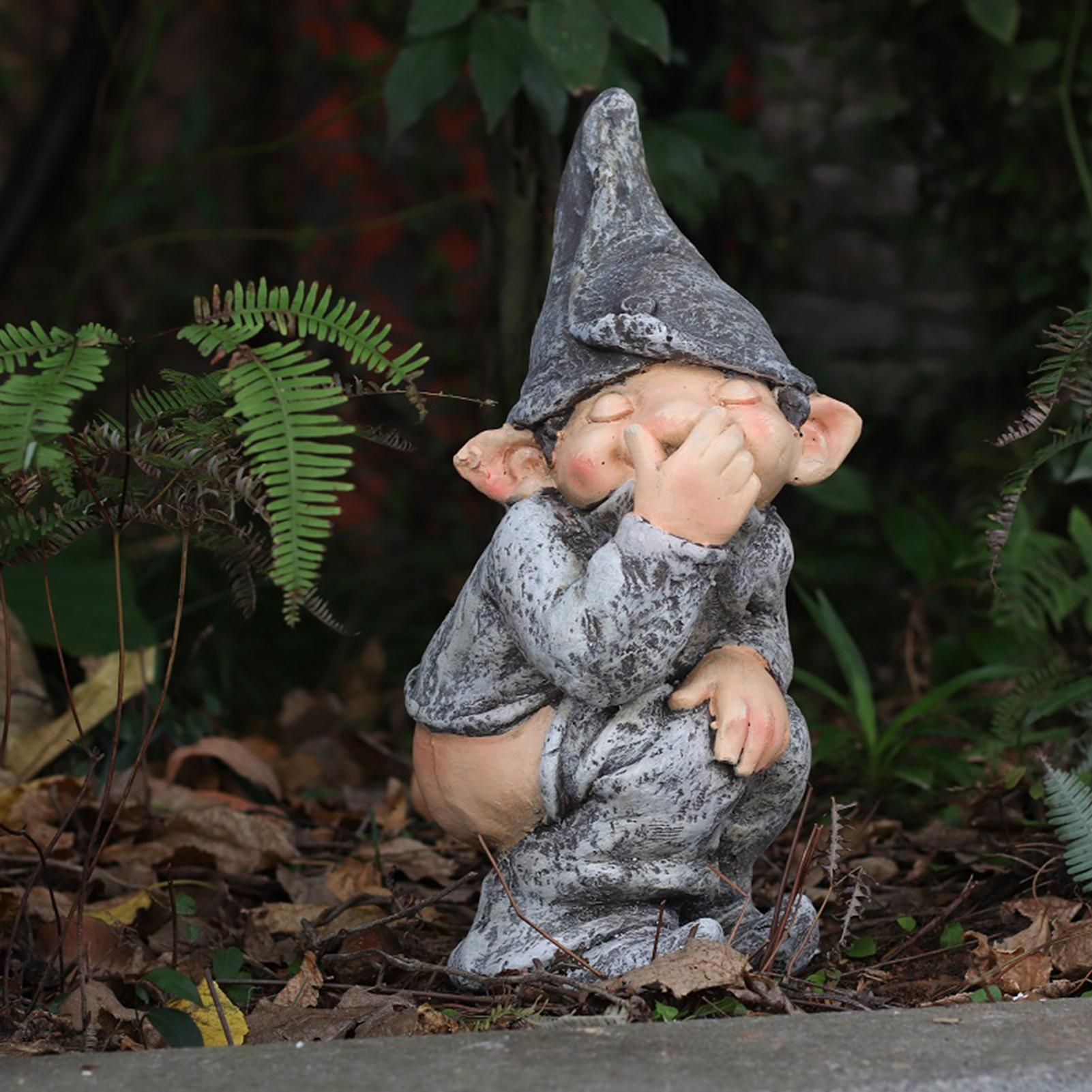Забавные эльфийские украшения из смолы, форма, имитация забавного гнома, миниатюрная карликовая статуэтка, садовый декор для сада