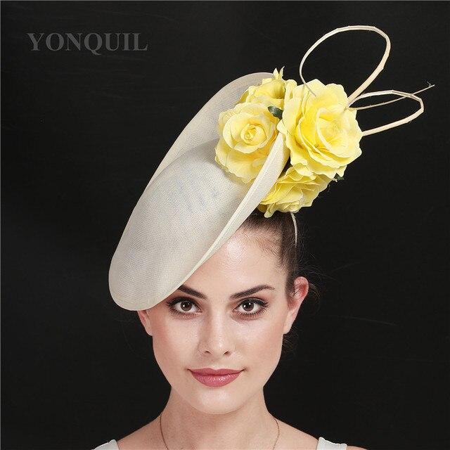 ゴージャスなkenducky大きな髪fascinatorsウェディングカクテル教会帽子エレガントな女性fedoraの女性ファンシー素敵なバラの花の帽子