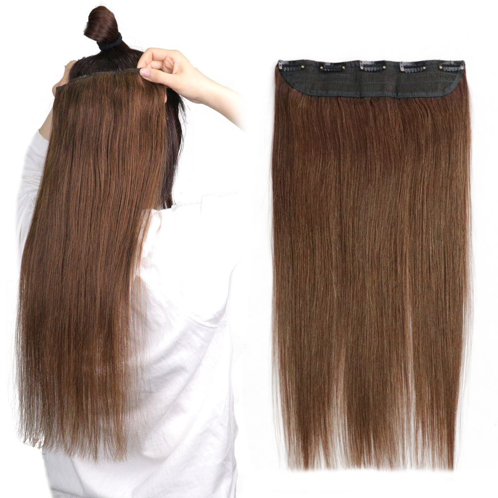 100g 120g 140g Clip In One Piece Tic Tac 5 Clips Remy Hair Piece Straight Clip Human Hair Extensions 14