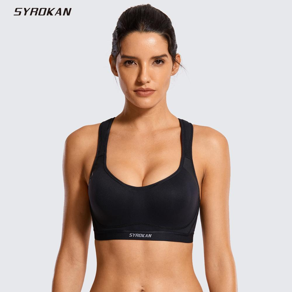 SYROKAN Women's High Impact Cross-back Full Coverage Sports Bra With Integrated Wire