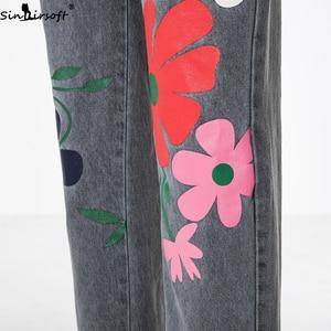 Image 5 - Plus Size 5XL Jeans Women Florals Printing Denim Jumpsuits Rompers Female Slim Suspender Trousers Women Loose Overalls Jumpsuit