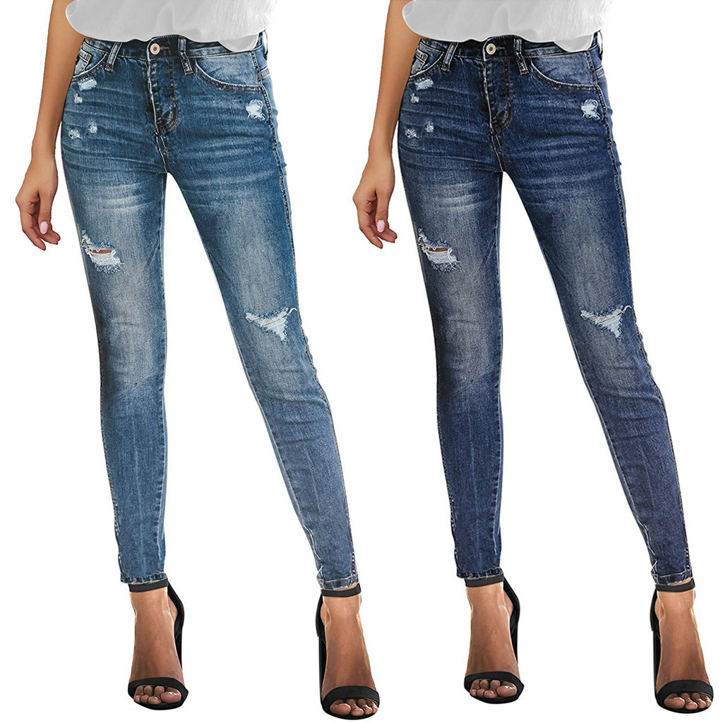 Eans For Women Mom Jeans High Waist Jeans Fashion Women Buttons Fly High Hole Casual Slim Fit Denim Jeans Trousers Pants 2020