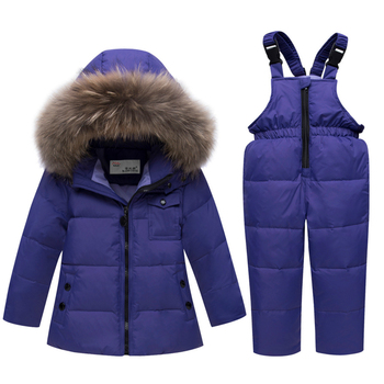цена на Russian Winter Coats Kids Outerwear Hooded Parkas Jumpsuit Baby Fur Snowsuit Thicken Snow Wear Overalls Clothing Set