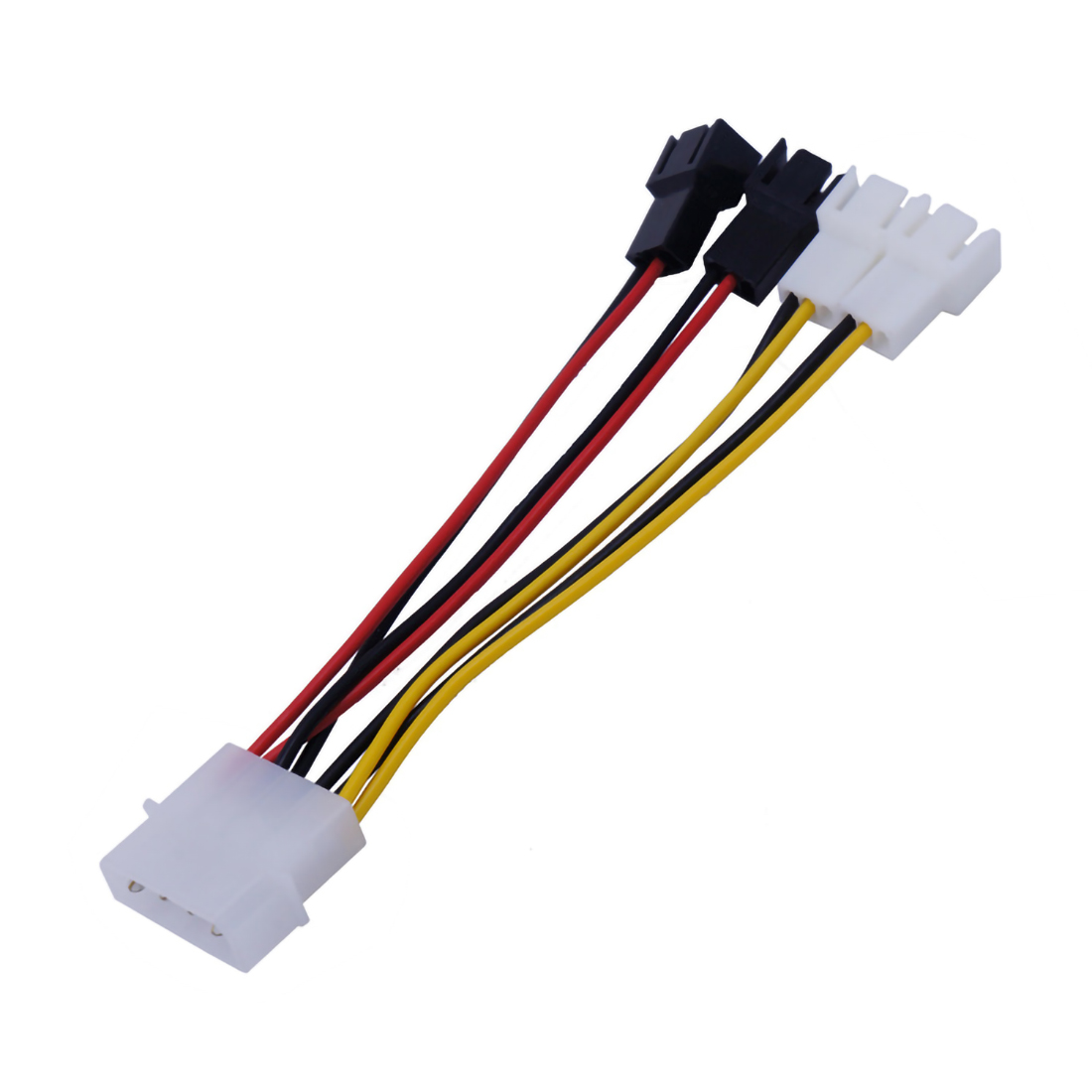 1Pc 4 Pin to 3 Pin Cooling Fan Power Cable Adapter Connector Line 12V*2 / 5V*2 Computer Fan Cables Cord for CPU PC Case 12.5cm image