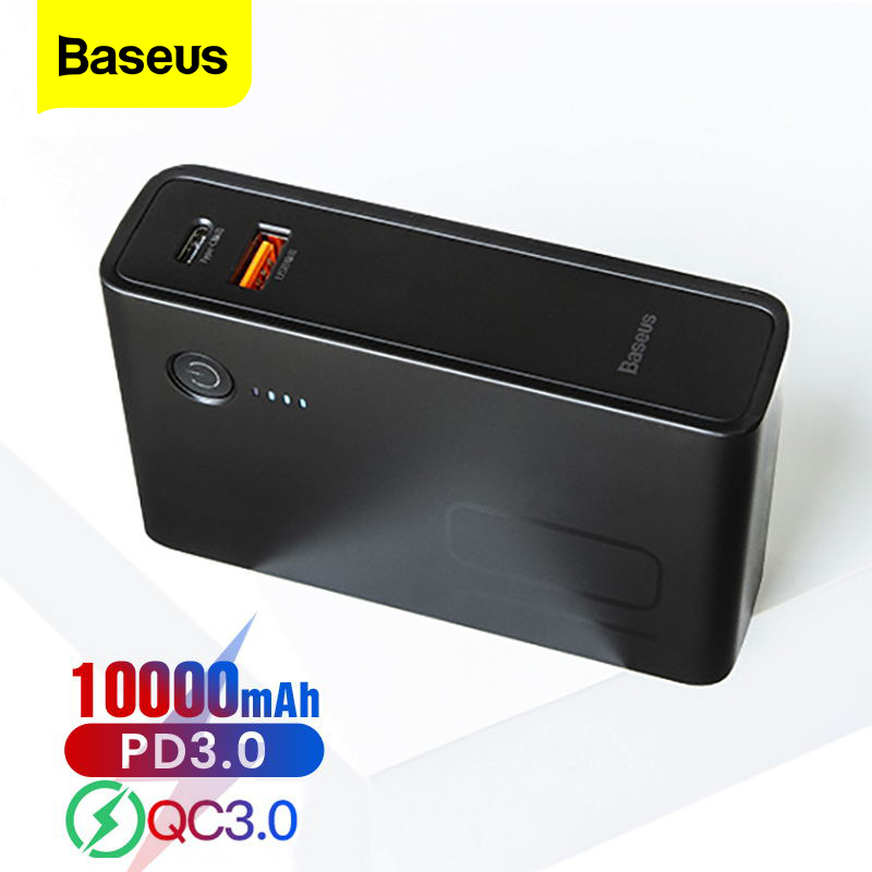 Baseus 10000mAh USB Charger Power Bank USB C PD Fast Quick Charge 3.0 Powerbank For iPhone 11 Portable External Battery Charger image