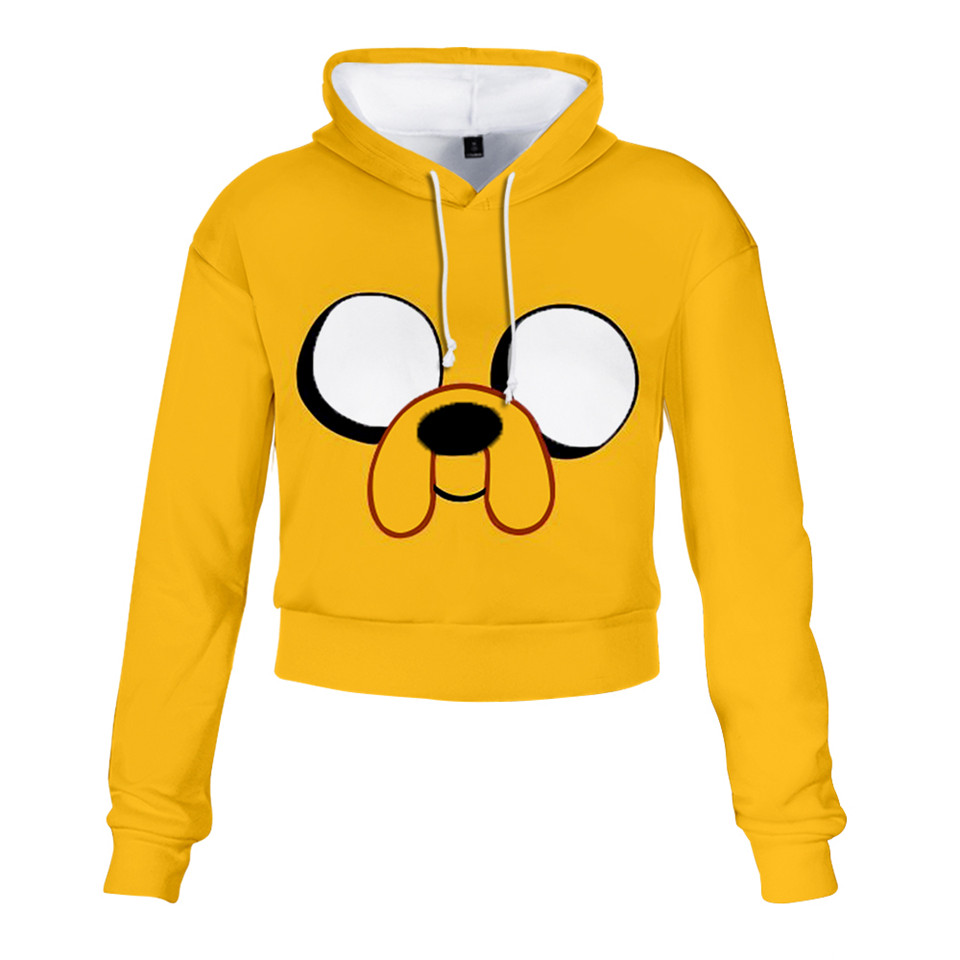 Adventure Time Finn And Jake The Dog Face 3D Cropped Hoodie Cute Sexy Girls Trendy Sweatshirt Streetwear Jacket Coat Clothes
