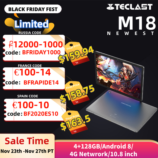 Teclast M18 4G שיחת טלפון אנדרואיד 8.0 10.8 אינץ Helio X27 2.6GHz Deca core מעבד 4GB RAM 128GB ROM 13.0MP + 5.0MP סוג C Tablet PC