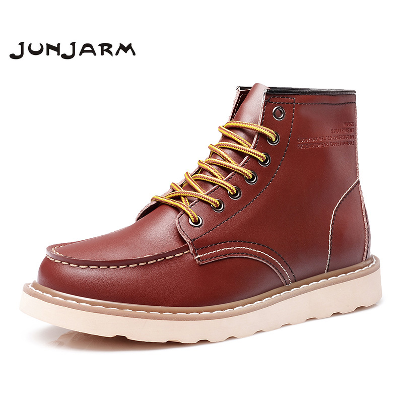 JUNJARM Men Ankle Boots Genuine Leather Mens Work Boots Fashion Men Leather Boots High Quality Black Men Winter Shoes