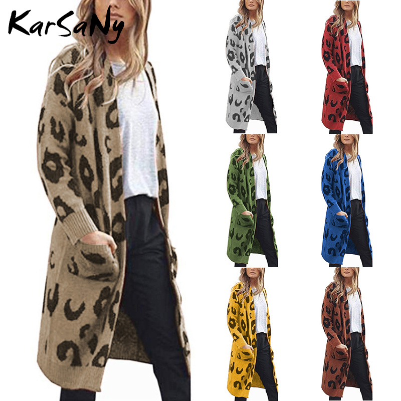 KarSaNy Knitted Leopard Print Cardigan Women Long Sleeve Oversize Winter Casual Oversized Long Cardigan Plus Size Women Autumn
