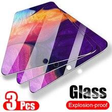 3 個フルカバー強化ガラス三星銀河 A50 A40 スクリーンプロテクター三星 A70 M20 M30 A20 a30 A50 A80 A60 A90