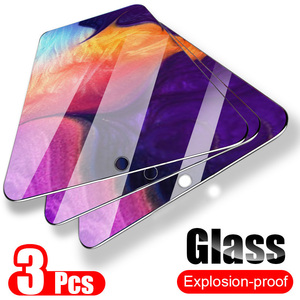 Image 1 - 3PCS Full Cover Tempered Glass For Samsung Galaxy A50 A40 Screen Protector Glass For Samsung A70 M20 M30 A20 A30 A50 A80 A60 A90