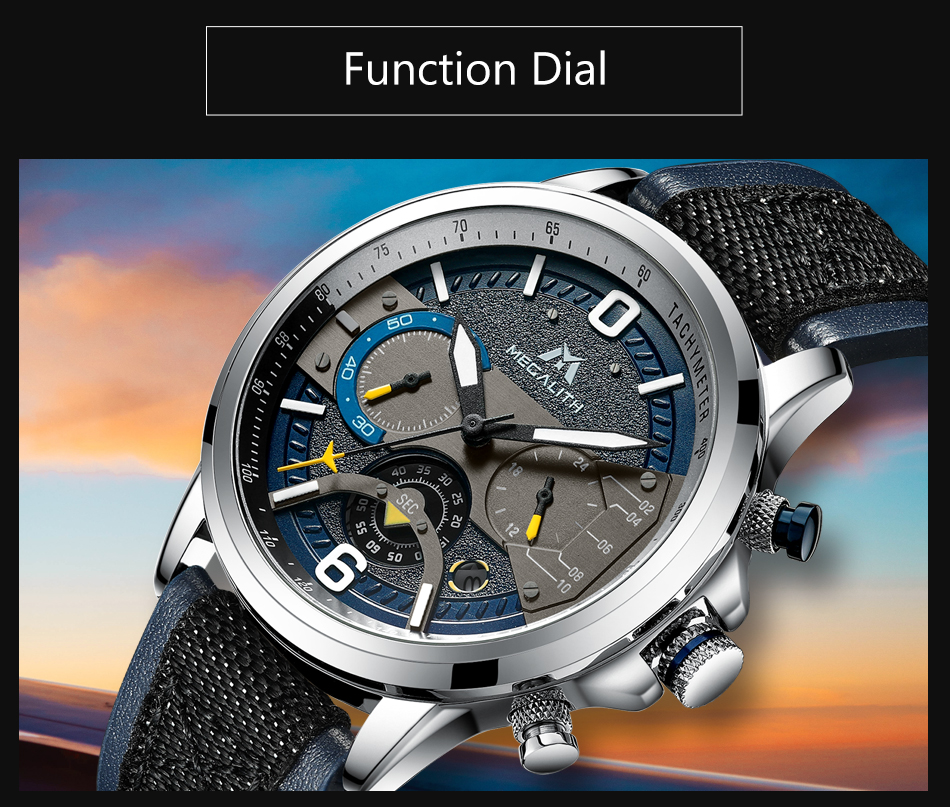 MEGALITH Leather Strap Beautiful Wrist Watch