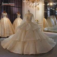 진짜 사진 큰 공 가운 웨딩 드레스 2020 레이스 웨딩 드레스 mariage 신부 가운 럭셔리