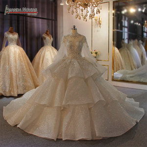 Image 1 - Real Photos Big Ball Gown Wedding Dresses 2020 Lace Wedding Dresses Mariage Bridal Gowns Luxury