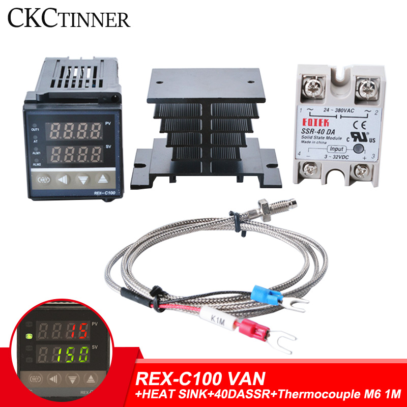 REX-C100 Digital RKC PID Thermostat Temperature Controller Digital REX-C100/ 40A SSR Relay/K Thermocouple Probe/heat Sink