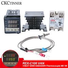 Thermostat numérique RKC PID, contrôleur de température, relais SSR 40a, sonde de Thermocouple K, dissipateur de chaleur