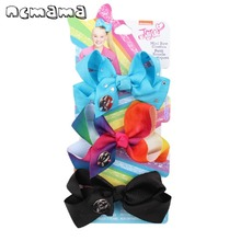 3Pcs/card 3 Hair Bows for Girls with Elastic Band Handmade Rainbow Grosgrain Ribbon Rope Party Headband Kids Headwear