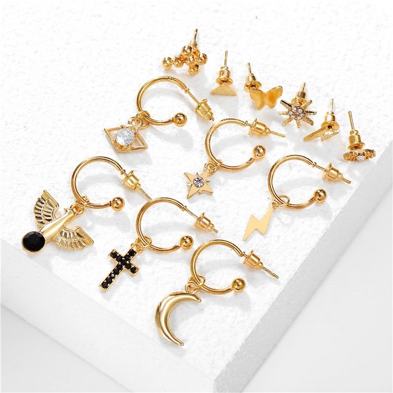12 пар сережек с крестом и Луной для женщин, 2020 золотые винтажные сережки с черными кристаллами, модные серьги со звездами для женщин, ювелирн...