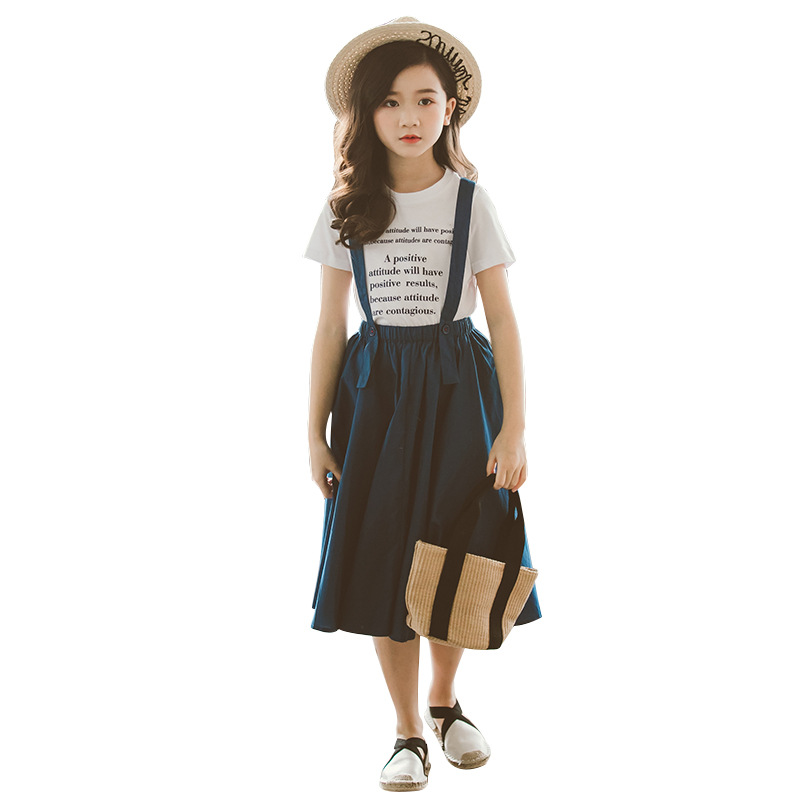 Teen Girls Clothes Set 2020 summer Kids Fashion Girls Clothing Sets 2 pcs Letter T-Shirt & Strap Skirt Set <font><b>6</b></font> 8 <font><b>10</b></font> <font><b>12</b></font> 14 15 Years image