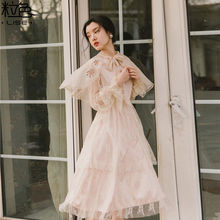 Vintage sweet lolita dress v-neck lace embroidery long sleeve high waist victorian dress kawaii girl gothic lolita op loli cos sweet custom tailored rococo lolita dress classic vintage floral printed short sleeve midi dress with lace ruffles by miss point