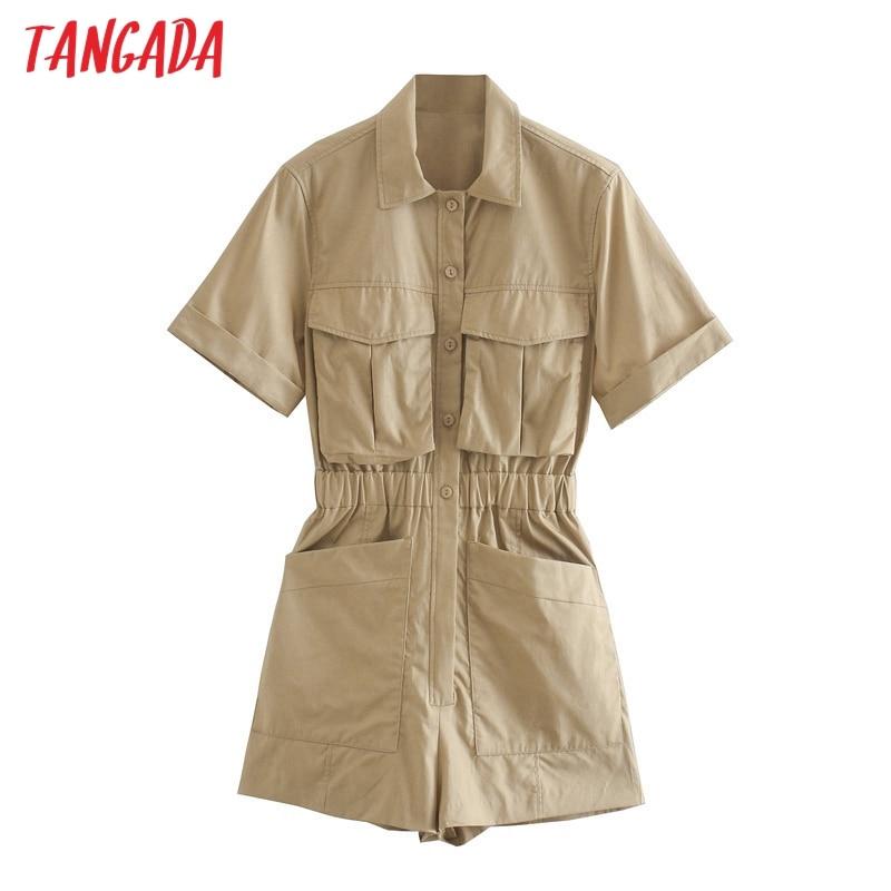 Tangada women vintage khaki cotton playsuits pocket elastic waist short sleeve rompers ladies casual chic jumpsuits 3H693
