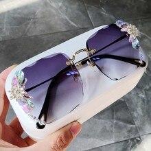 Gafas de sol de lujo sin montura para mujer, anteojos de sol femeninos de estilo moderno, con estampado de vinilo cuadrado, con diamantes de imitación, estilo veraniego, 2020