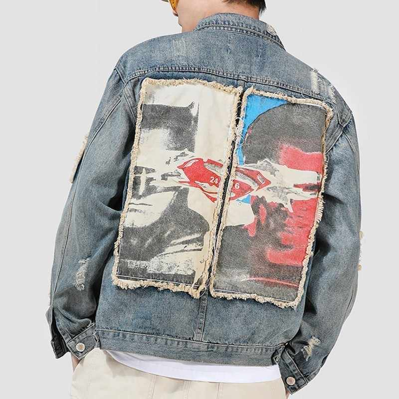 Harjuka Mode Heren Afdrukken Patch Ripped Denim Jassen Lange Mouwen Single Breasted Hip Hop Losse Mannelijke Jeans Bovenkleding Jassen