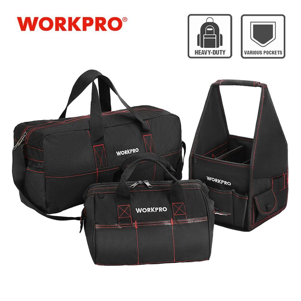 """WORKPRO patvarus įrankių krepšys """"Combo"""" 2PC rankinės 1PC peties krepšys 8 """"12"""" 19 """"vandeniui atsparūs elektrikų krepšiai 600D poliesteris 3PCS / Lot"""