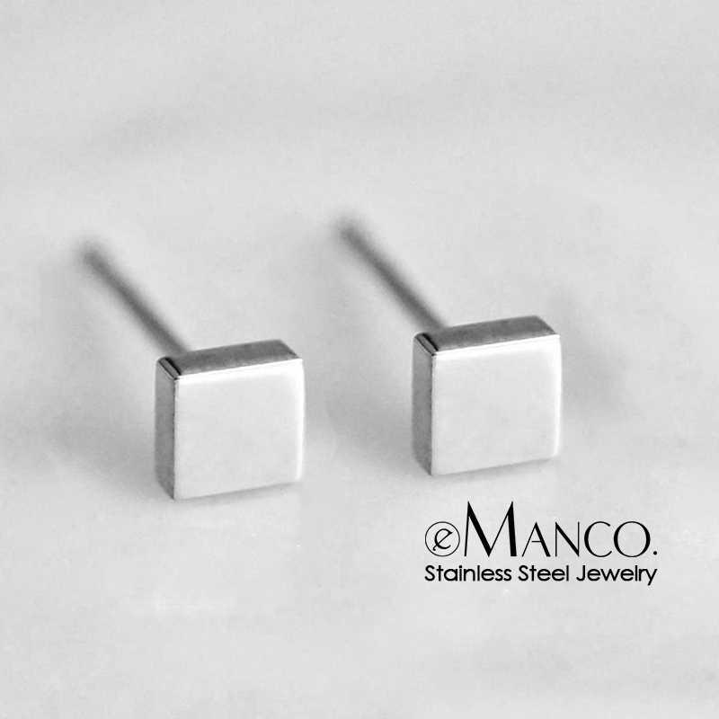 Emanco 316L Stainless Steel Stud Anting-Anting untuk Wanita Minimalis Persegi Kecil Stud Warna Rose Gold Anting-Anting