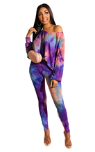 Goocheer Autumn Winter Fashion Women Popular Color printing Long Sleeve Sexy Crop Top And Pants Set