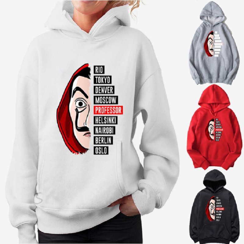 Nova mulher hoodies la casa de papel impressão 3d carta camisolas femininas casual moda solta casa de papel hoodies pulôver