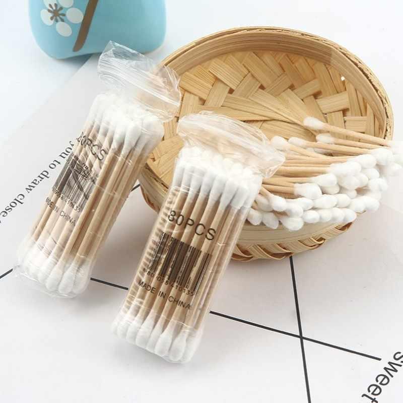 100 Pz/pacco Doppia Testa Tampone di Cotone Donne di Trucco di Cotone Germogli Suggerimento per Il Medico di Legno Spiedi Naso Orecchie Pulizia Salute E Bellezza Strumenti