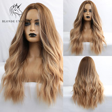Blonde Unicorn Ombre Brown Synthetic Natural Wave Center Part Hair Wigs