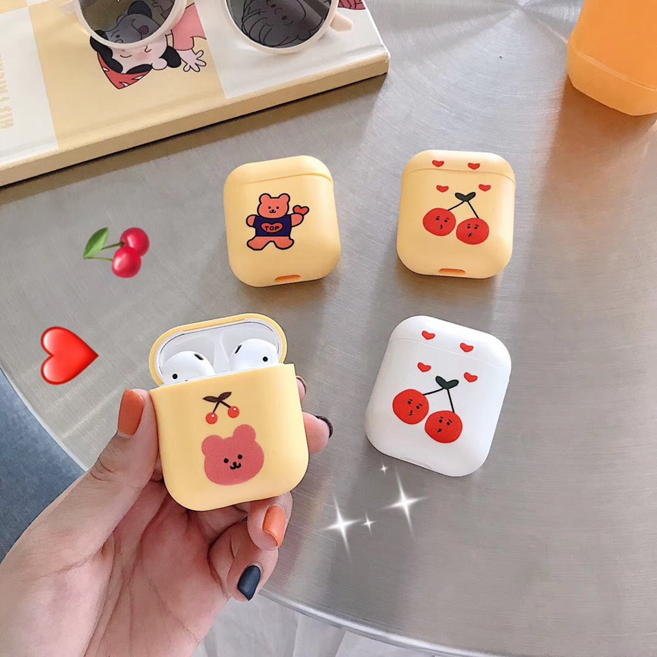 Axbety For AirPods 1/2 Case Cute Cartoon Bear Fashion Cherry Earphone Cases For Apple Airpods 2 Soft Silicone Protect Cover