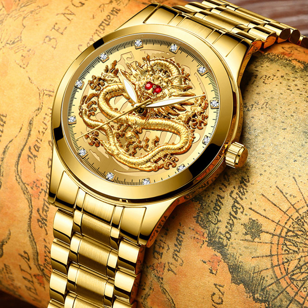 FNGEEN Watch Men Fashion Luxury Mens Business Watch Quartz Wrist Watch Waterproof Embossed Diamond Dragon Male Watches Reloj