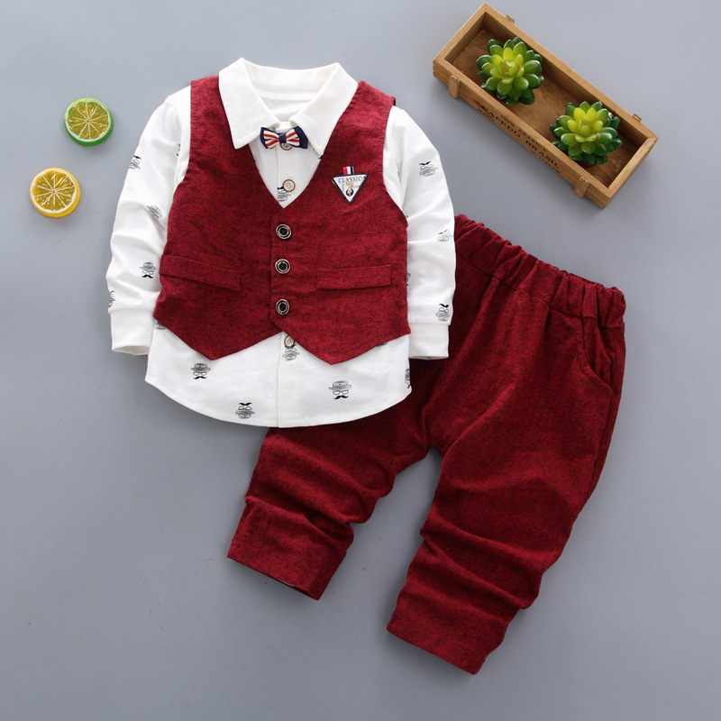 2020 Baby Boys Wedding Clothes Kids Formal Suit Boy Shirt+Vest+Pants Outfits Baby Children England Style Clothing Sets