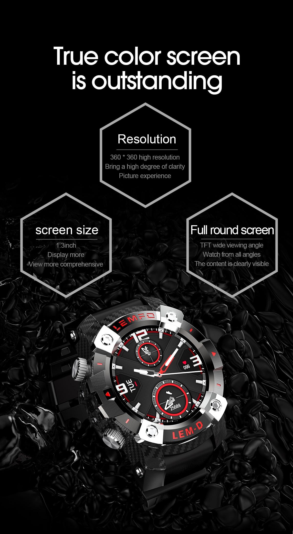 Hd6b40a11d2f14bb39e8563ae195bc6e1L LEMFO LEMD Smart Watch Wireless Bluetooth 5.0 Earphone 2 In 1