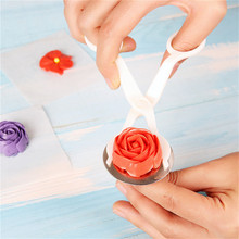 2pcs Piping Flower Scissors Nail Safety Rose Decor Lifter Fondant Cake Decorating Tools Tray Cream Transfer Baking Pastry