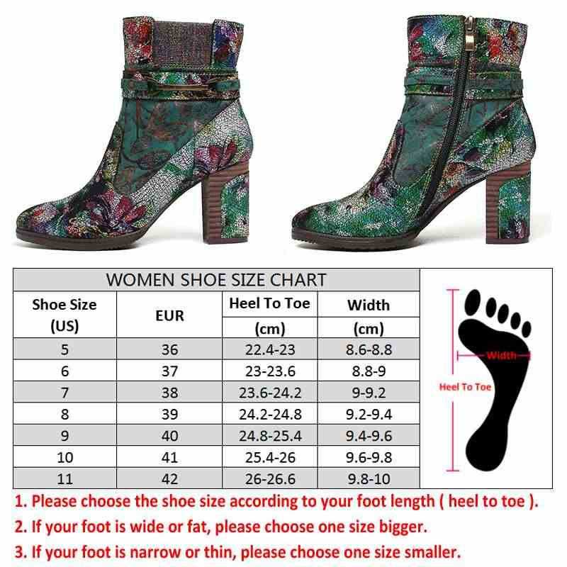 SOCOFY Retro ที่มีสีสันรองเท้ารูปแบบหนัง Gorgeous High สแควร์ส้นรองเท้า Zipper Botas mujer Elegant รองเท้าผู้หญิง