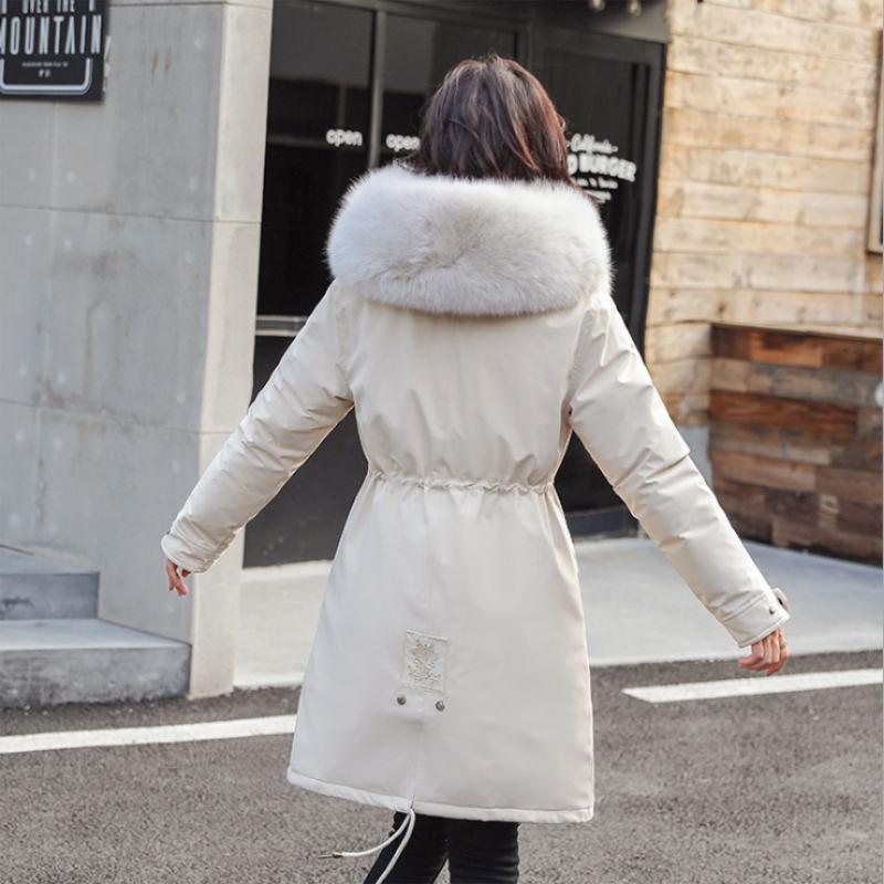 Зимние парки 2019 зима 30 градусов женские парки пальто с капюшоном меховой воротник толстая секция теплые зимние куртки зимнее пальто куртка - 5