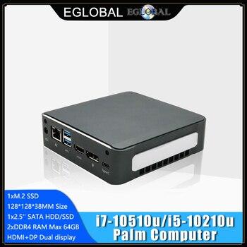 New Mini PC Windows 10 Intel i7-10510U I5-10210U 2*DDR4 M.2 Nuc Ultra Compact PC Barebone Computer Type-C 4K 60Hz HDMI2.0 DP