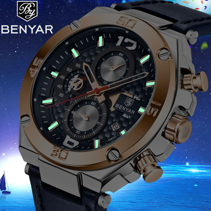 2019 New BENYAR Brand Men Quartz Watch Luxury Military Sport Chronograph Business Waterproof Leather Watches Relogio Masculino