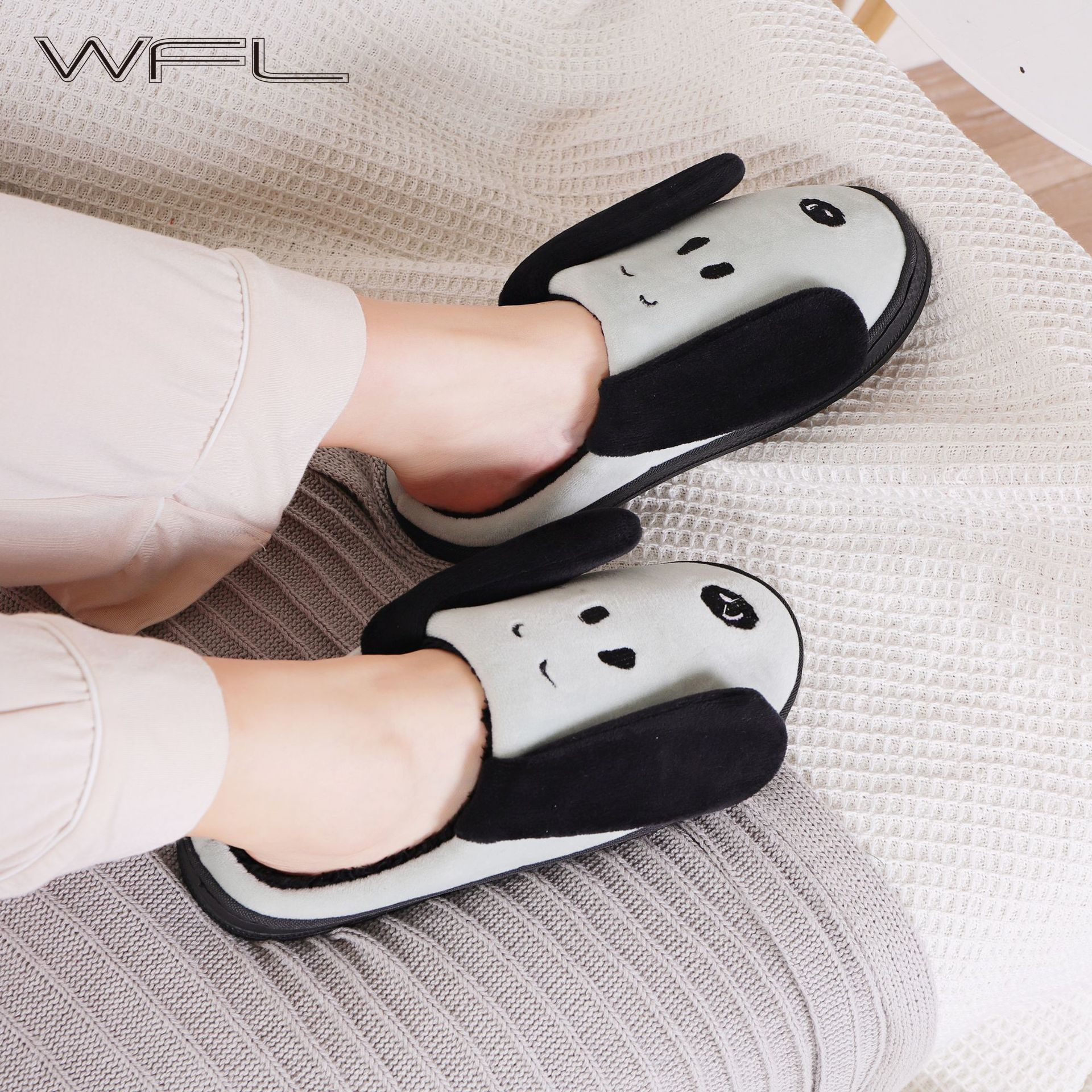 WFL Women Shoes Soft Cozy Flock Carton Dog Prints Anti slip Sole Winter House Slippers Indoors Bedroom Warm Cotton SlippersSlippers   -