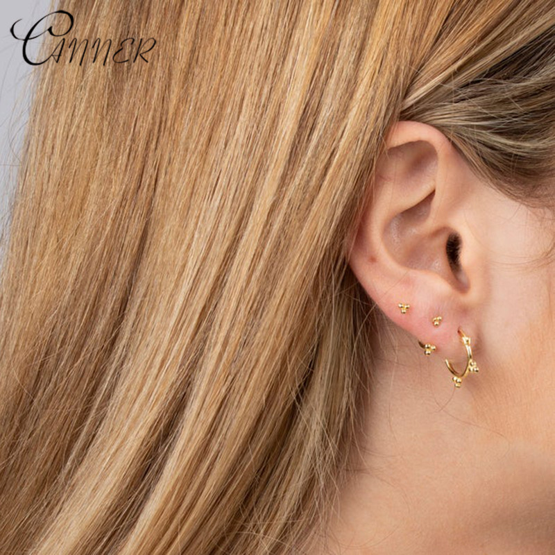 CANNER Simple Lovely Girl's Earring Minimalist 925 Sterling Silver Three Ball Stud Earrings for Women Girls Piercing Earrings