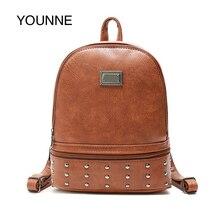 цены YOUNNE Vintage Backpack Women Leather Backpacks Casual Shoulder Bag School Bags for Teenage Girls Travel Back Pack Sac A Dos