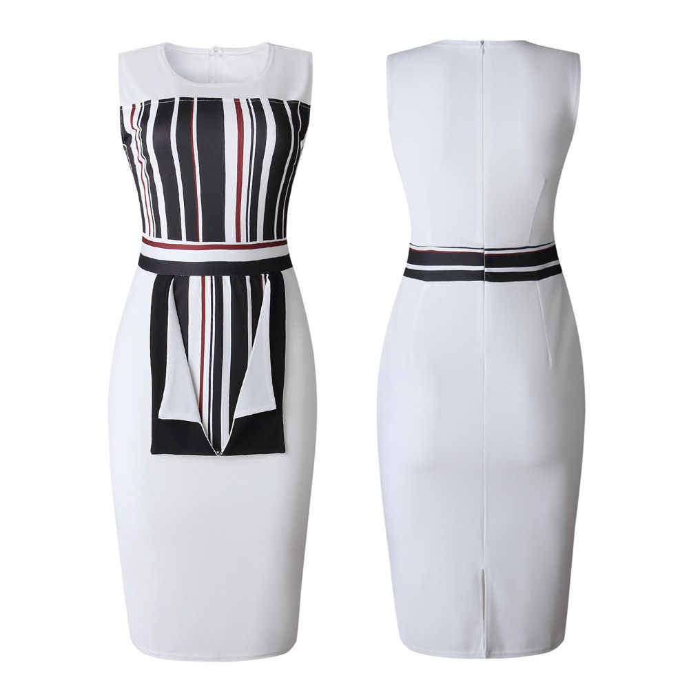فساتين القلم الرصاص الأفريقي للنساء طباعة ملابس الصيف الأبيض Dashiki أنقرة Bodycon فستان الشمس أنيقة روبا داما الملابس الأفريقية