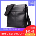 Мужская черная сумка через плечо BISON DENIM, брендовая сумка из натуральной воловьей кожи для <font><b>iPad</b></font> 10,5 дюймов, сумка-кроссбоди для мужчин, повседне...