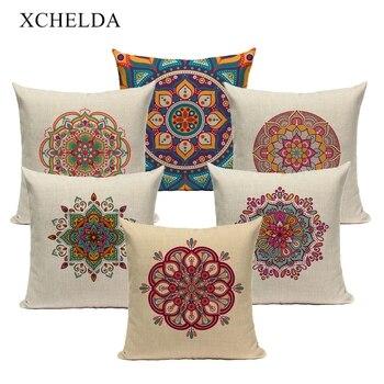 Funda de cojín de lino y piel, funda de almohada Bohemia con Mandala marroquí decorativa 45*45 40*40 para sala de estar, funda de almohada bohemia de algodón